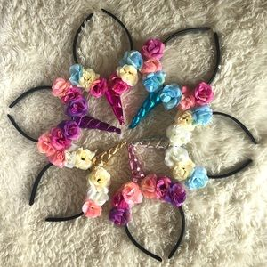 6 floral unicorn horns